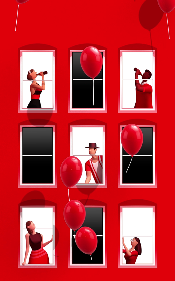 3D figures celebrating inside of a red apartment building with red balloons floating in the air