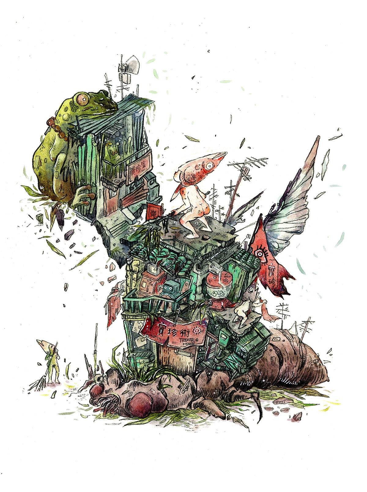 An illustration of a town built on top of a dead bug