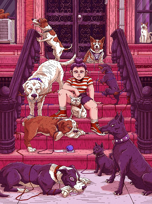 An illustration of a girl surrounded by different breeds of dogs by Joey Rex Cardenas