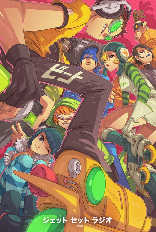 A colorful poster depicting different characters wearing roller blades