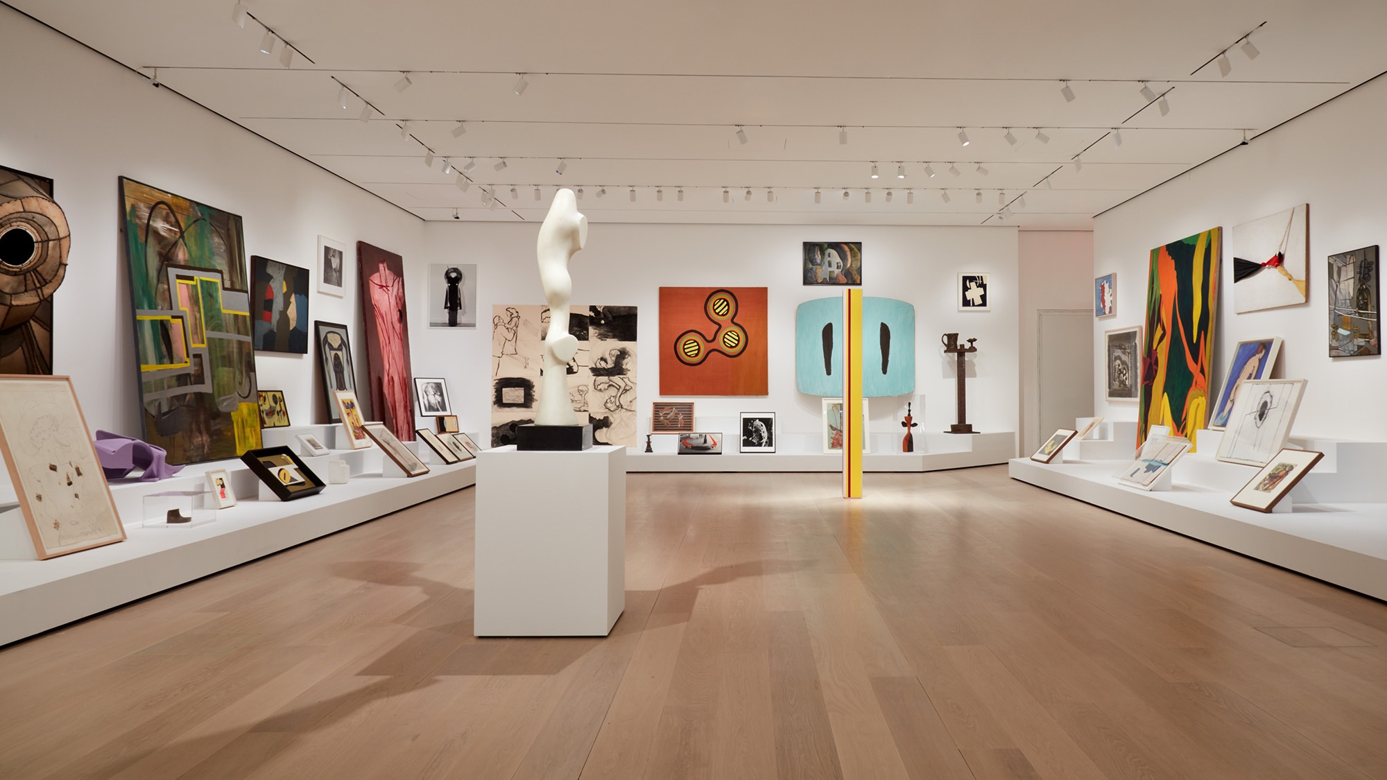 """Installation view of """"Artist's Choice: Amy Sillman—The Shape of Shape,"""" on view at The Museum of Modern Art, New York. Photo: Heidi Bohnenkamp"""