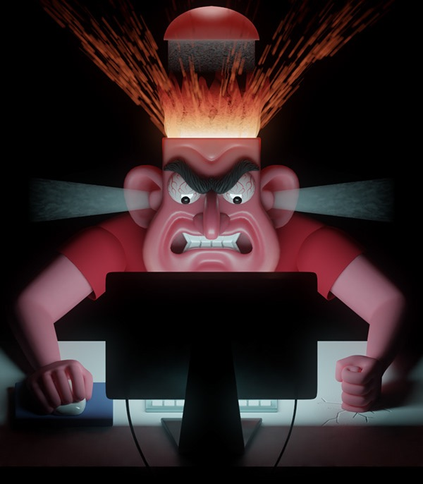 A 3D rendered image of an angry man with his head exploding