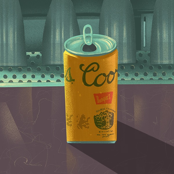 An illustration of a Coors beer can by Jeff Lowry