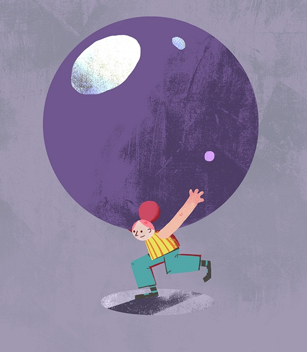 An illustration of a character carrying a giant purple ball on their back