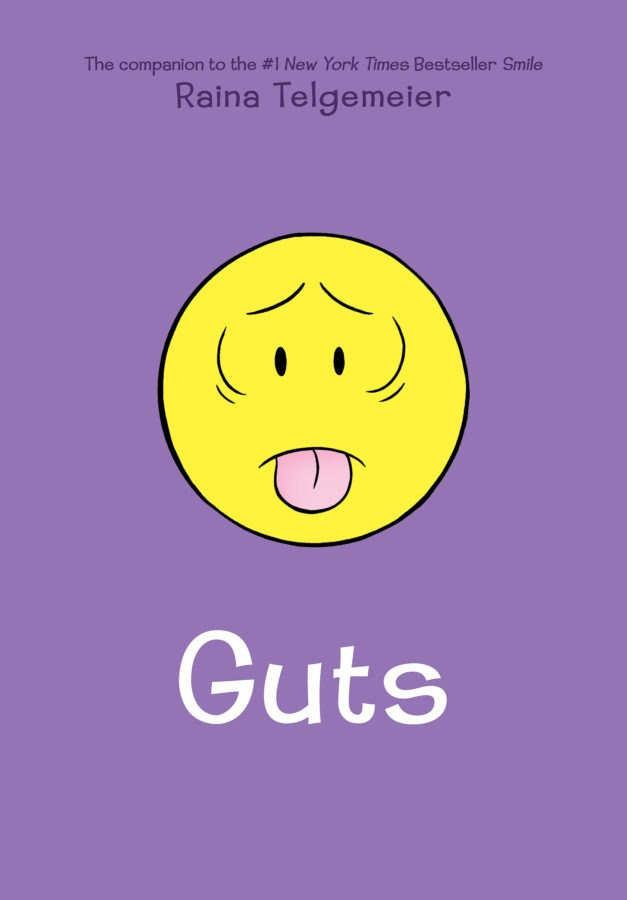 A purple book cover with a simple yellow cartoon face making a nauseated expression.