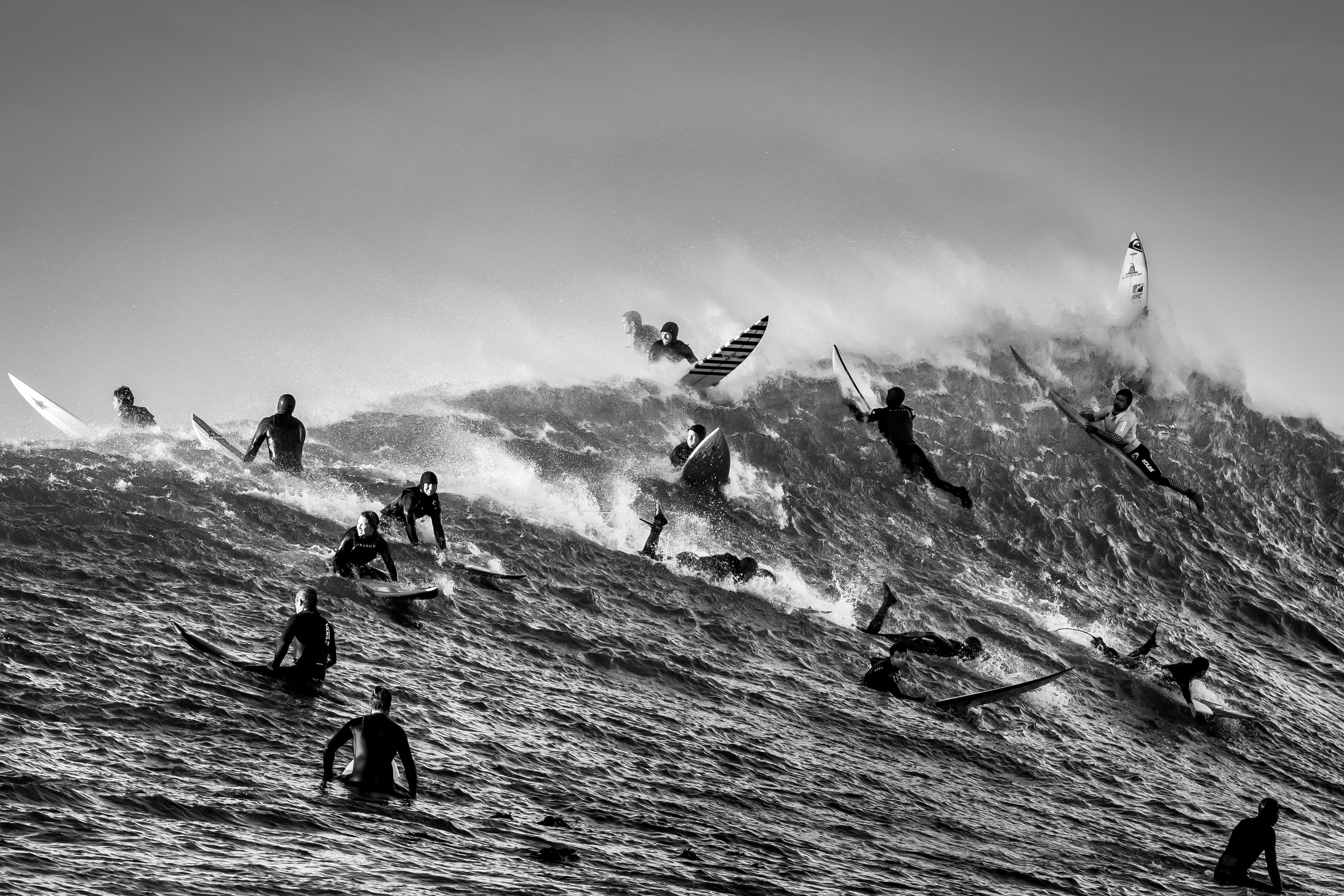 A black-and-white photograph of many surfers in the ocean, scattered at various spots along a gathering wave.