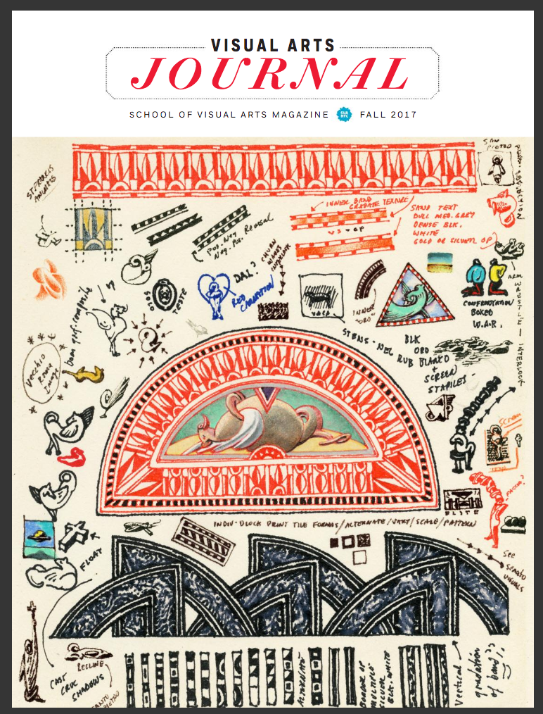 A magazine cover featuring a colorful page from an artist's sketchbook that is filled with notes and drawings of various architectural details and observations from life.
