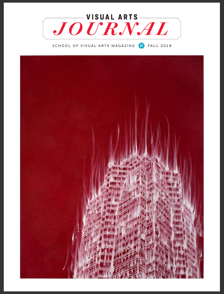 A magazine cover featuring a red-and-white painting of an isolated high-rise building, viewed from below. The white paint used to render the building is streaked, giving the appearance of the building being on fire or collapsing.