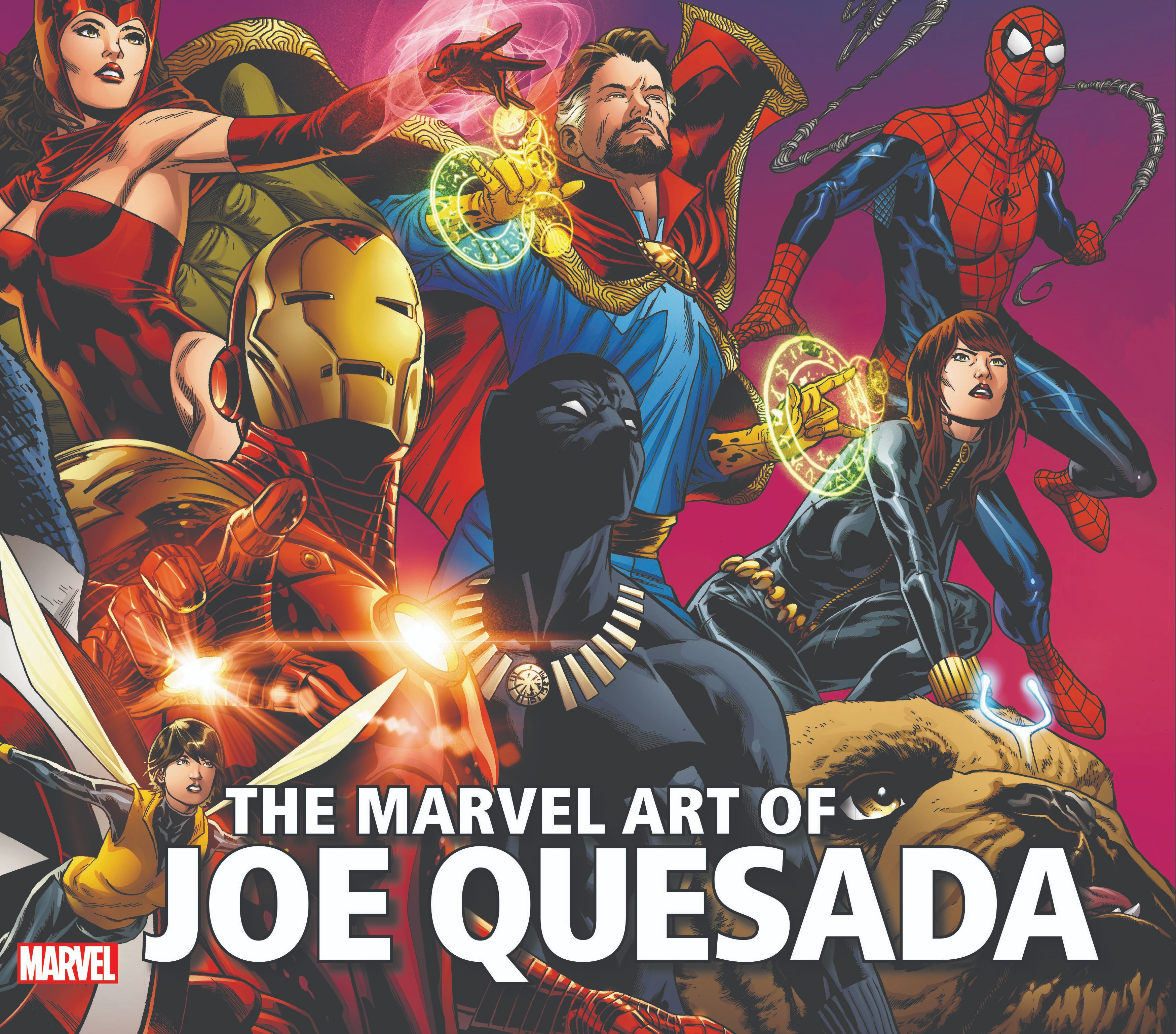 A book cover featuring color illustrations of many Marvel superheroes.