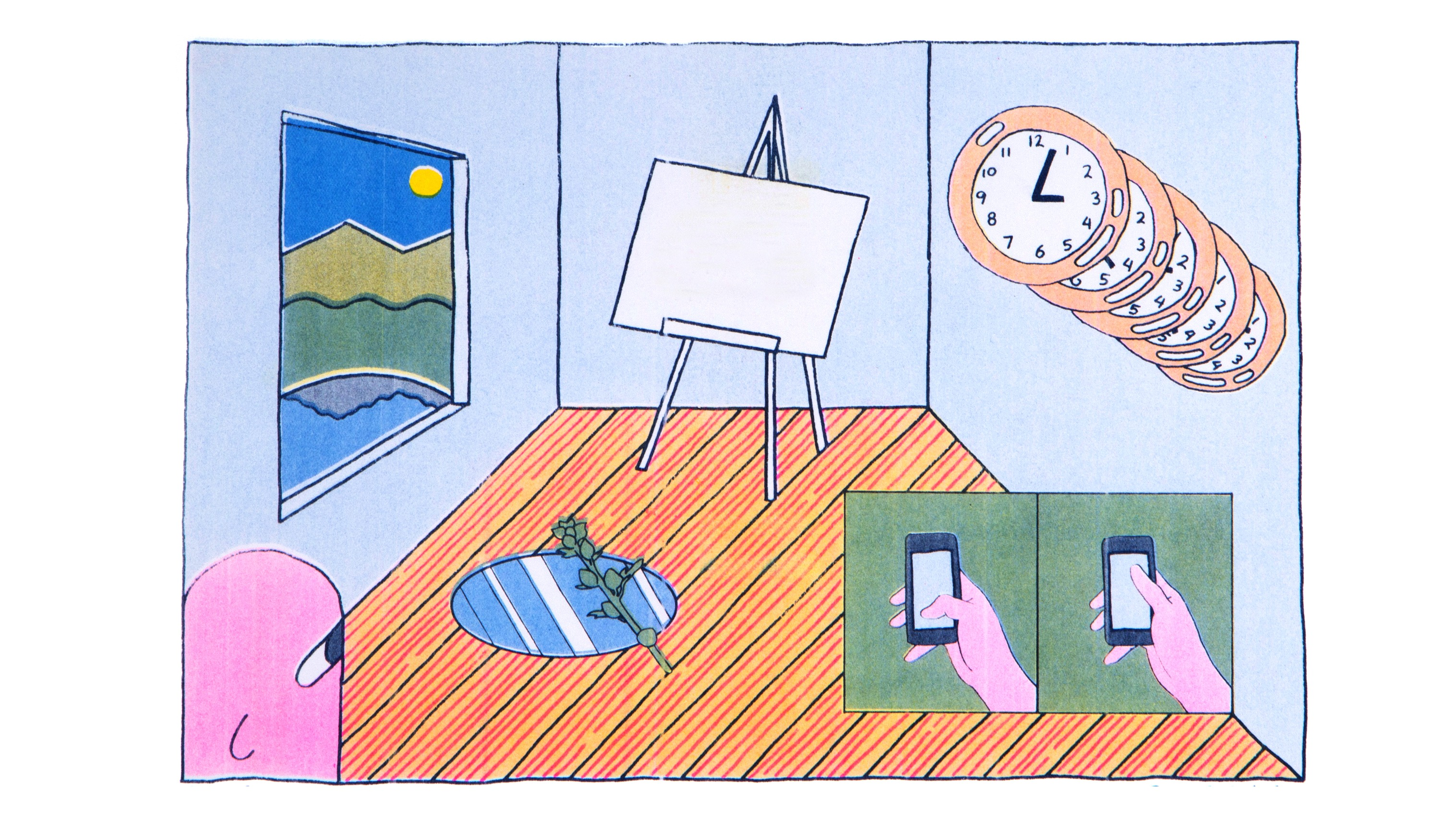 Risograph print of a drawing of an interior scene. The walls of the room are light blue, the floor is hardwood. Out the window to the left it is daylight. The face in the bottom left is content. There is a mirror on the floor with a plant over it. There is a 2-panel comic in the bottom right with a thumb scrolling on a phone. There is a series of clocks over the 2-panel comic. in the center of the room is a blank canvas.