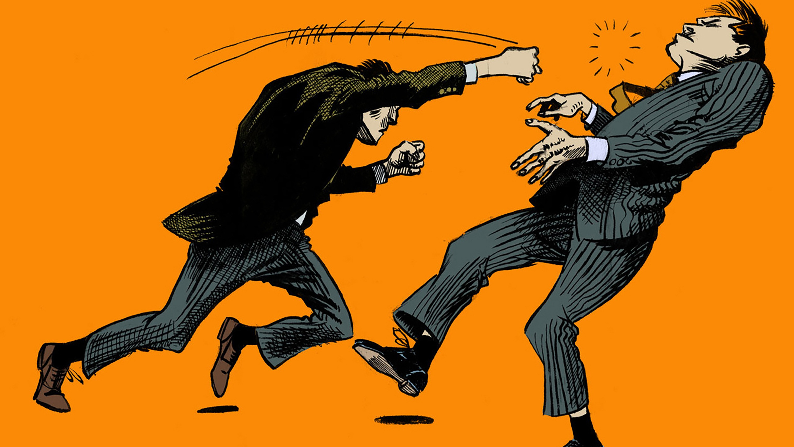 illustration of two men in suits fighting.