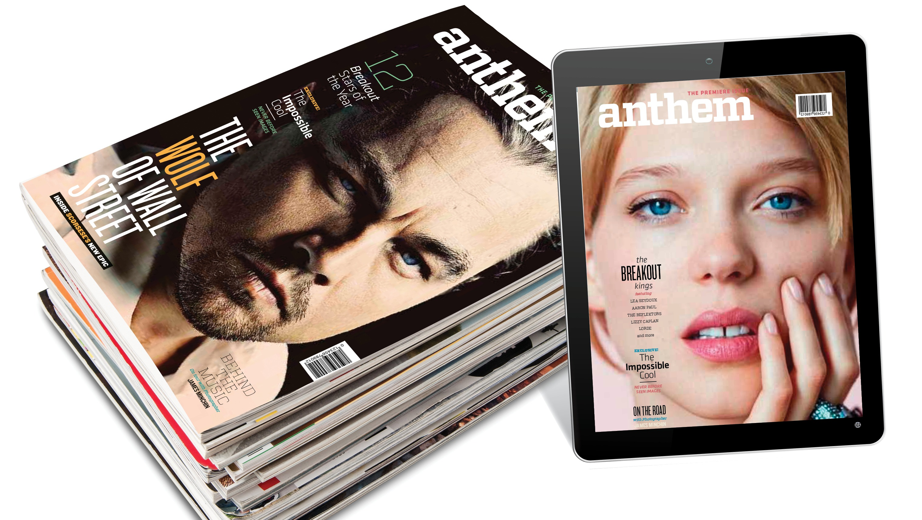 stack of magazines next to an ipad with a magazine cover.
