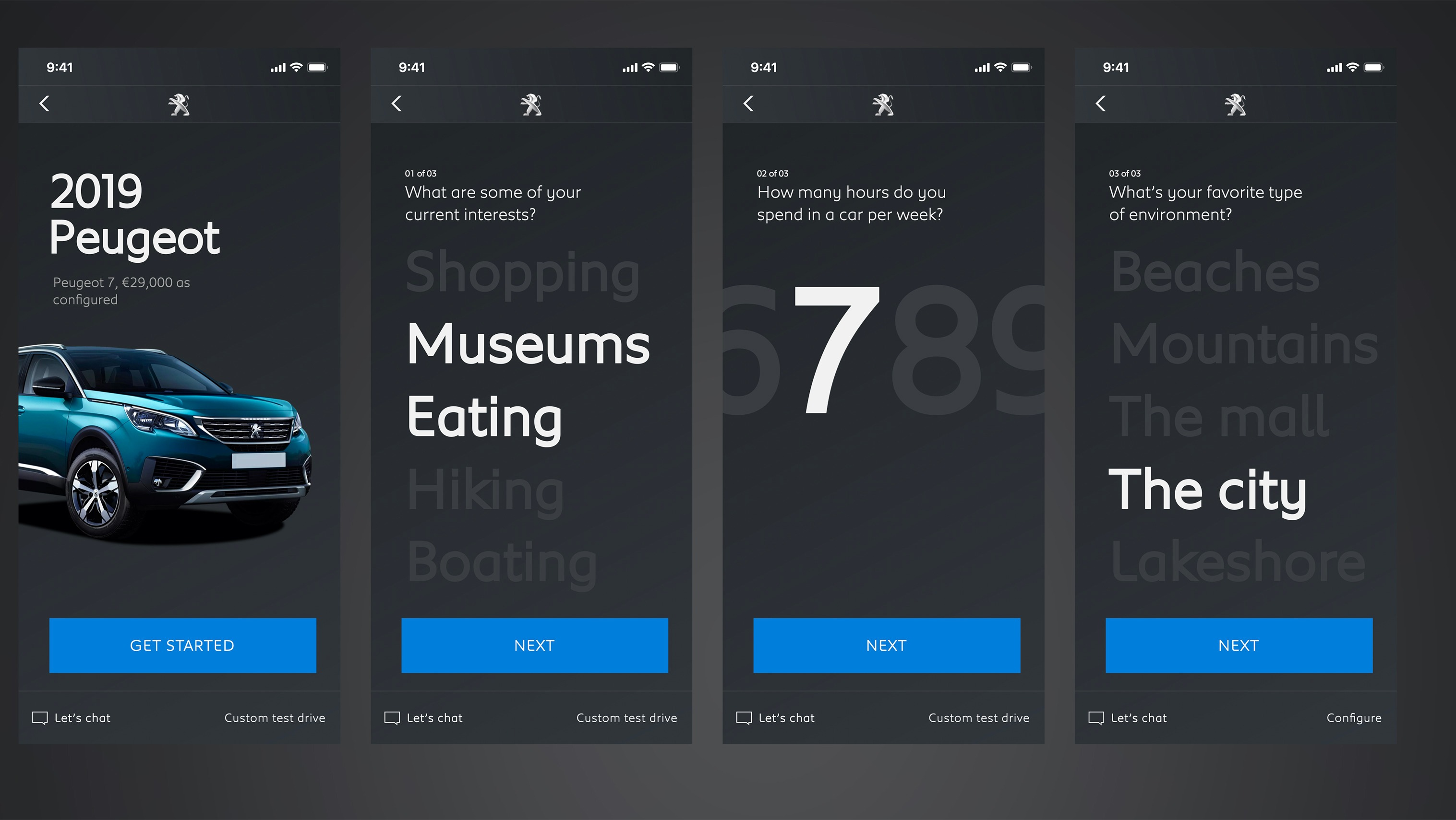 various screens of an app user experience