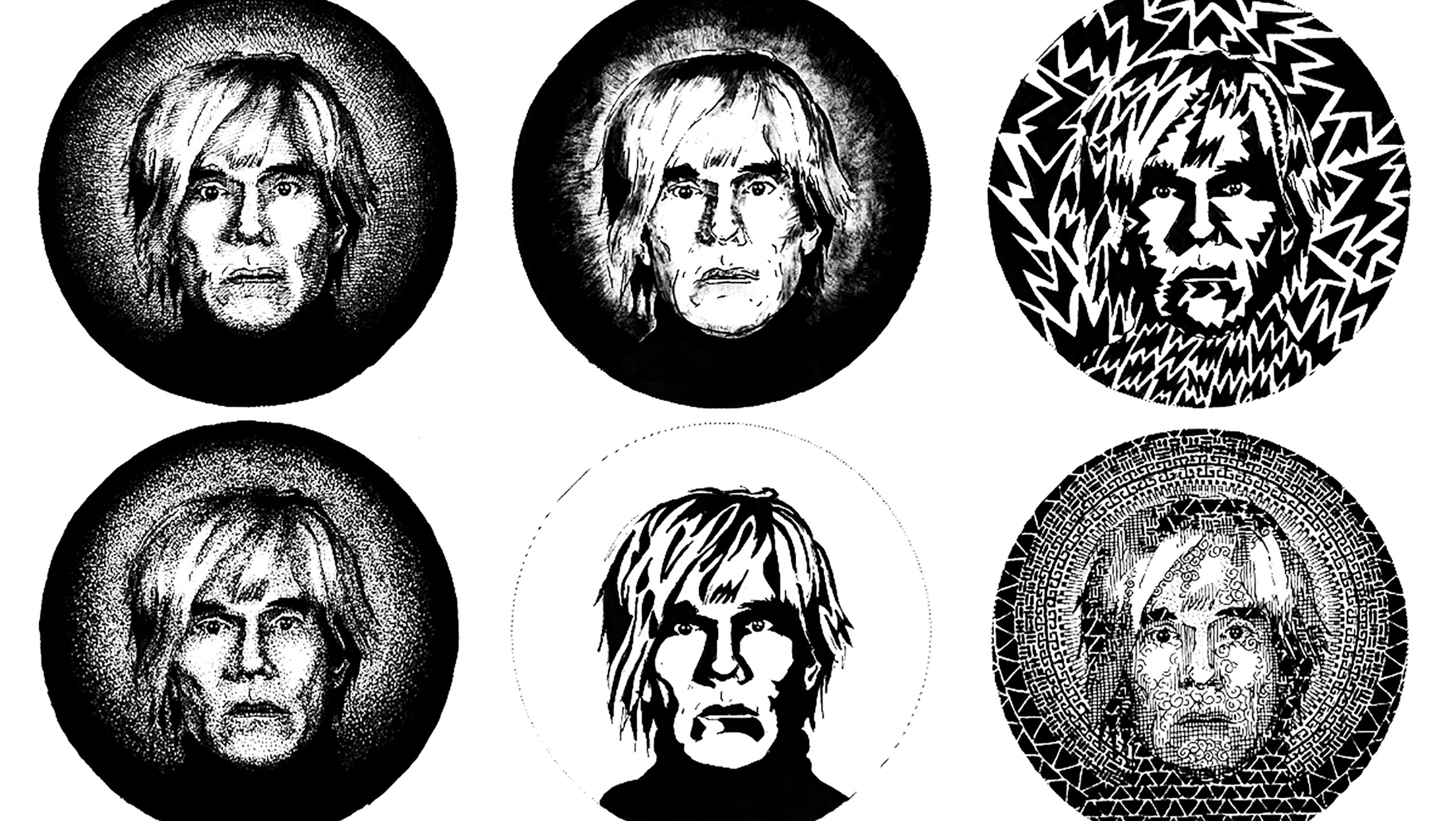 6 variations of a portrait inked in different variations.