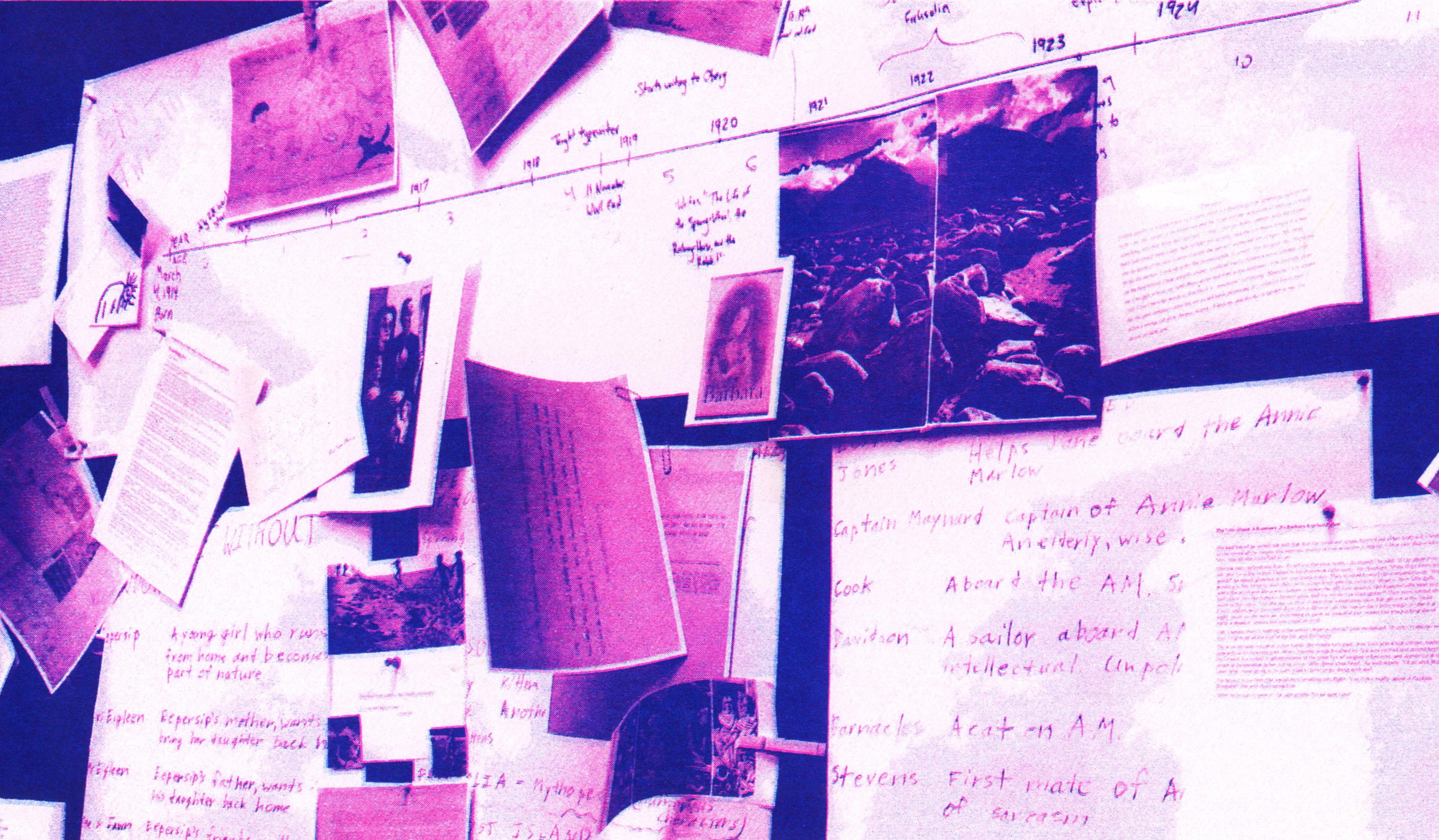various papers with writing on wall in pink hue