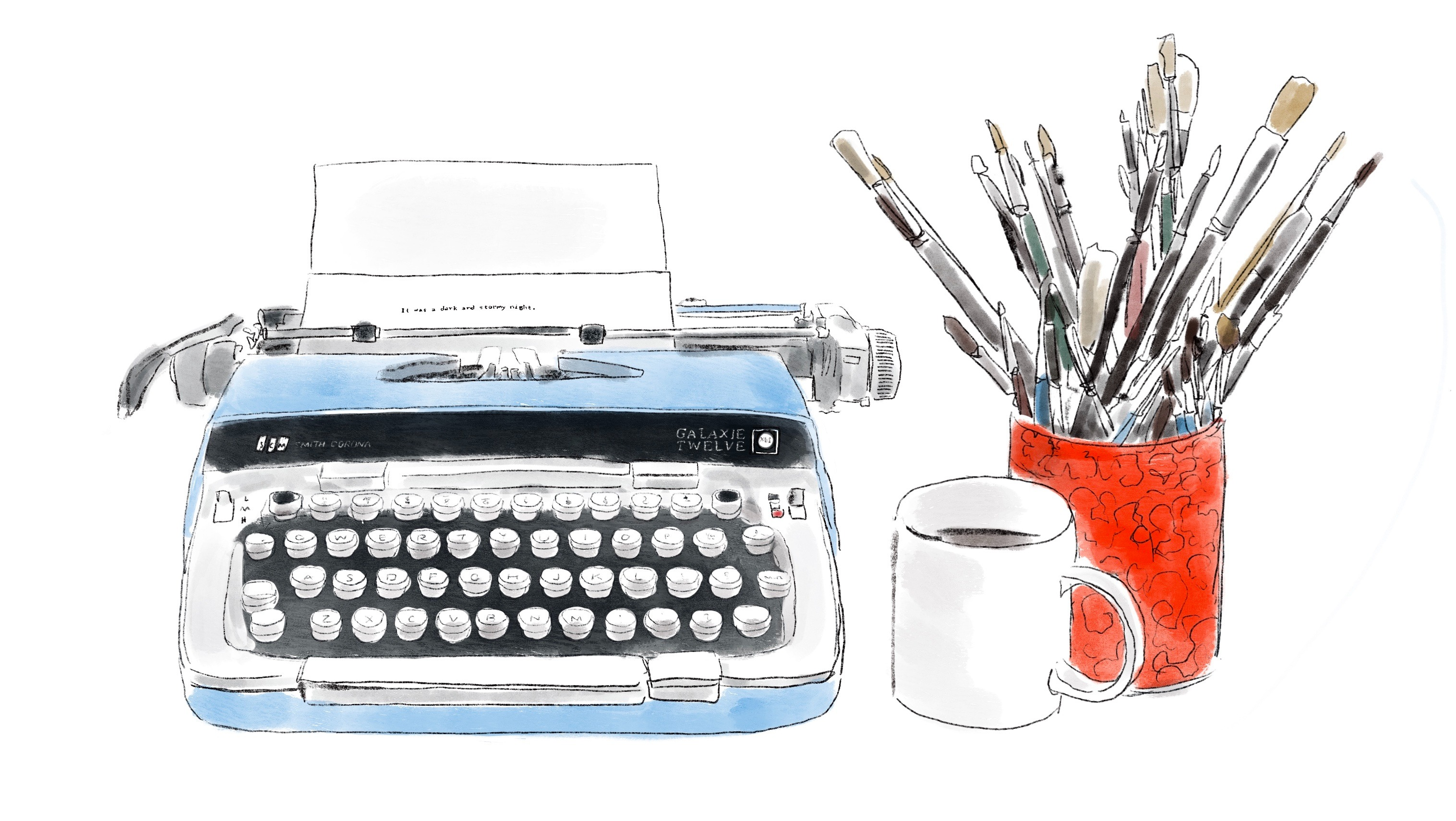 drawing of a typewriter and cup of brushes and coffee mug