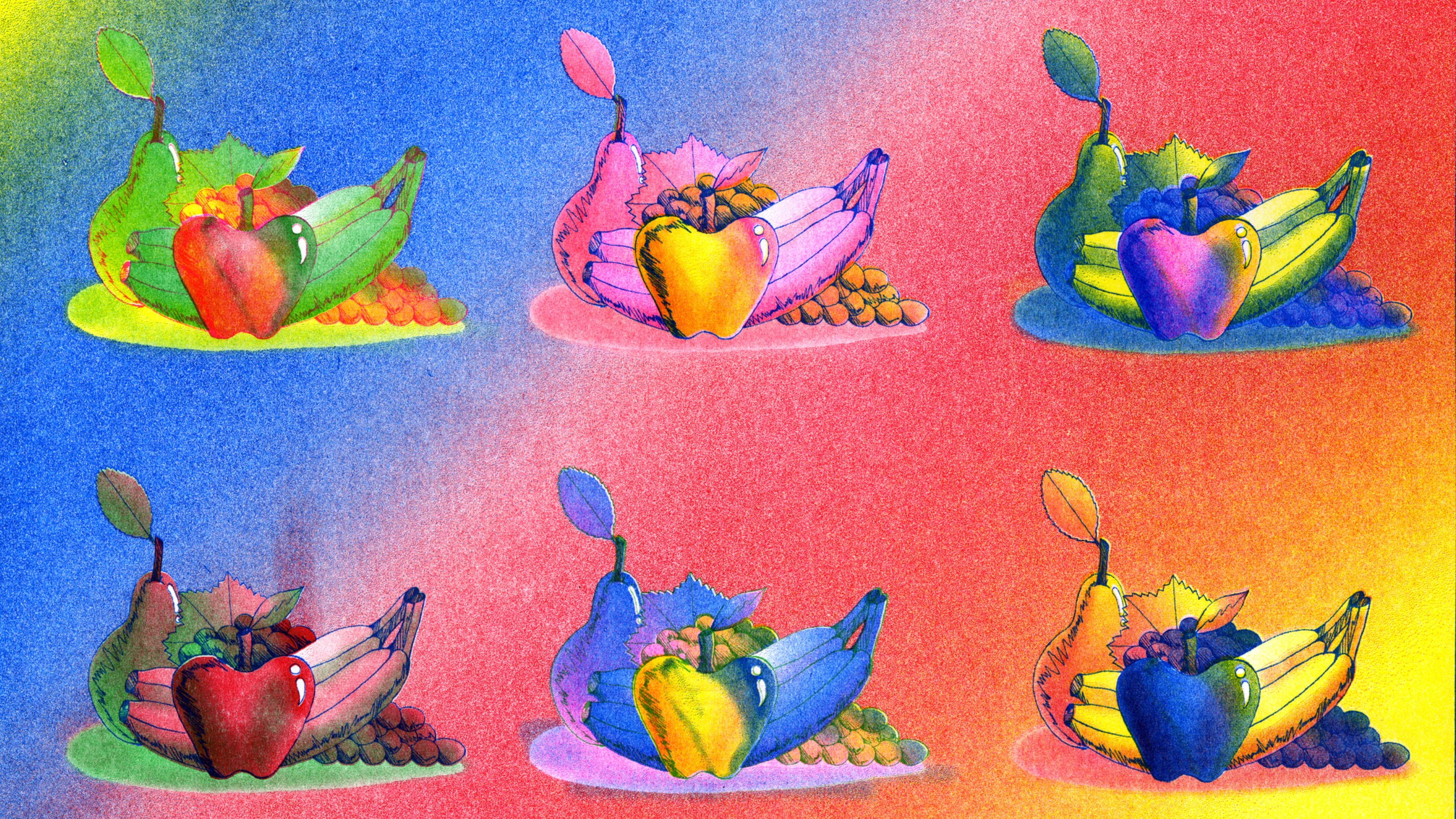 various versions of multicolored illustration of fruit arrangements.