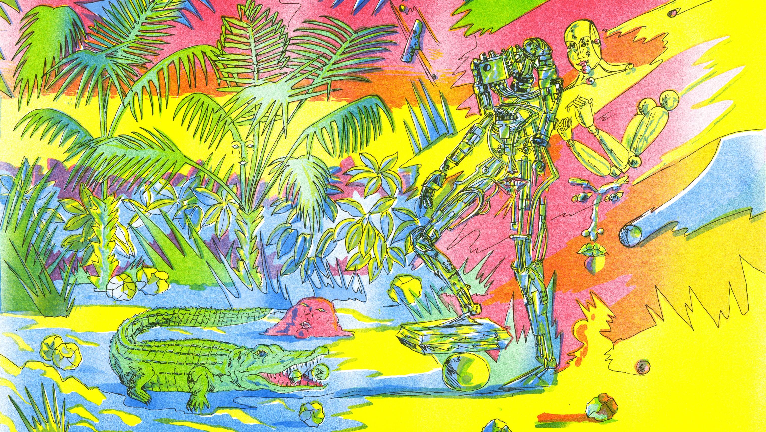 A surreal, colorful riso print