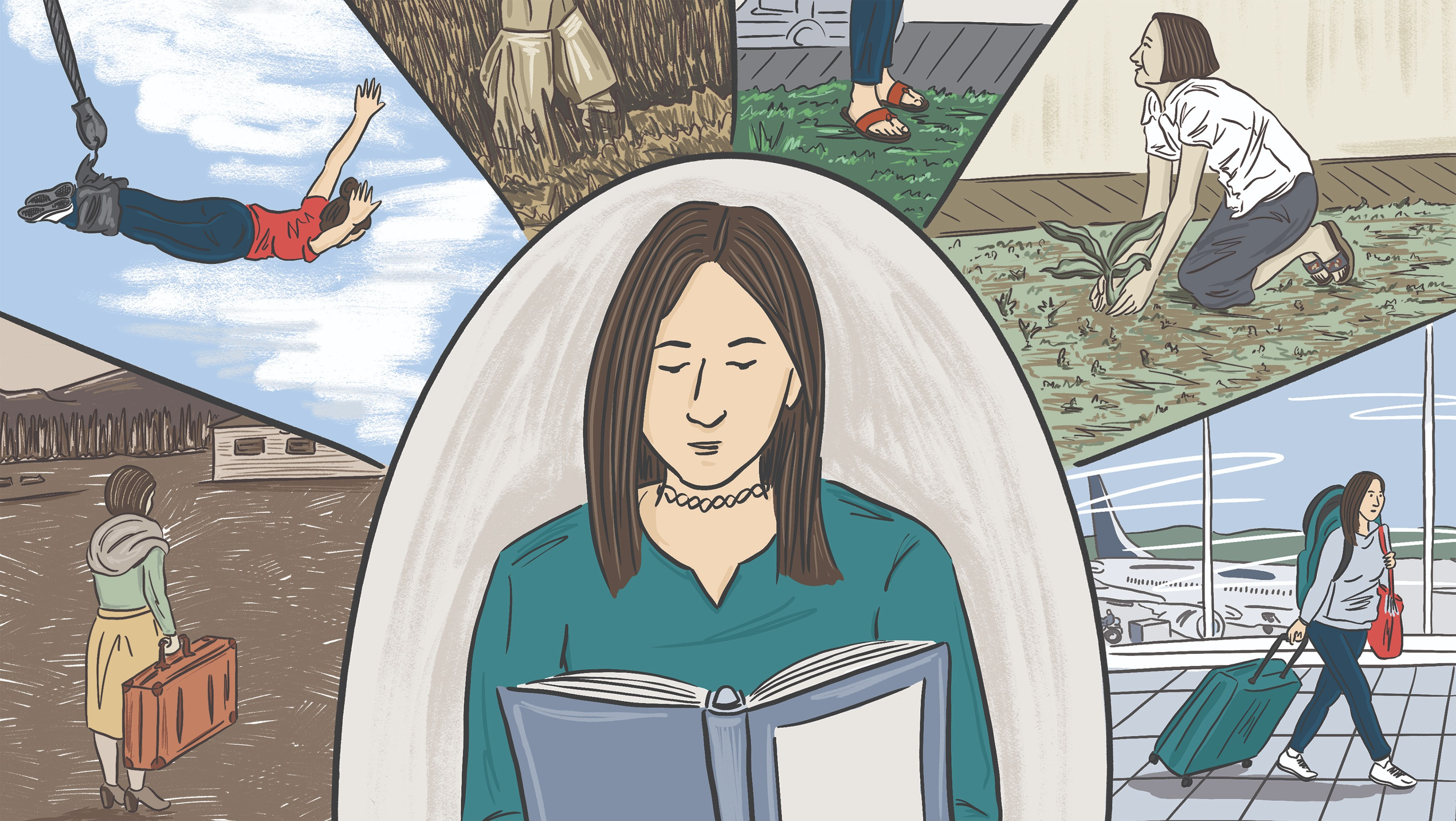 illustration of a person reading and book and various small frames in an arch with an illustration of that person engaged in various activities