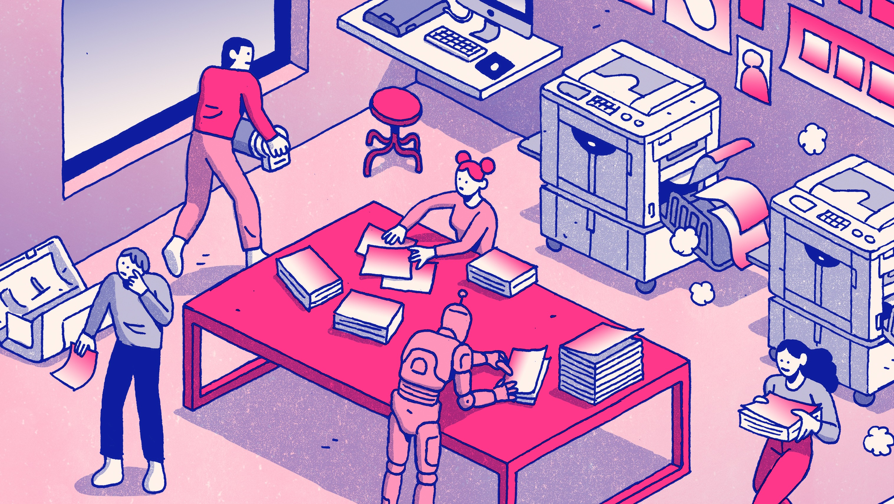 illustration of people working in a printing studio.  Images is in hues of pink and blue.