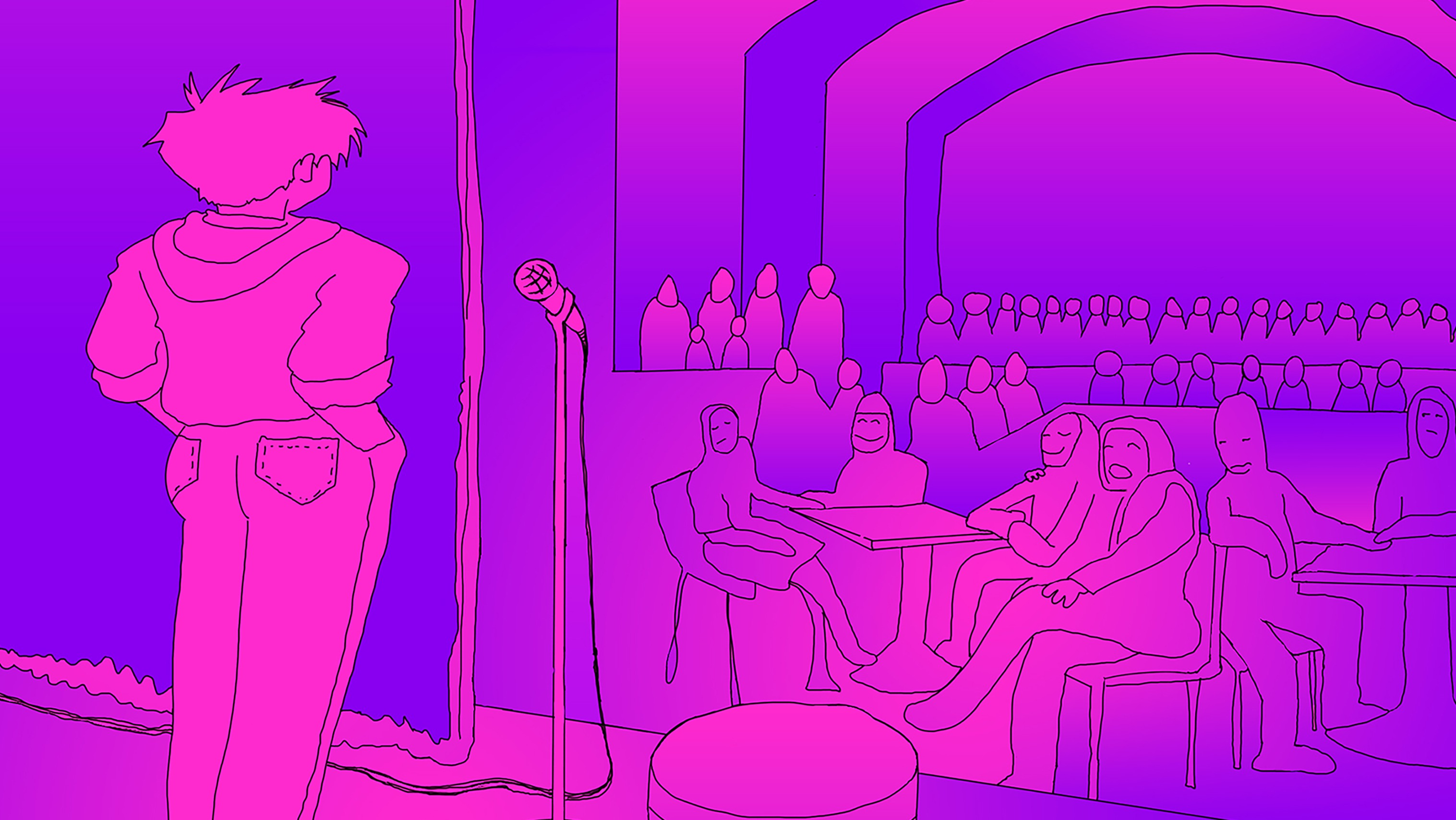 person standing in front of a crowd.  Purple and pink illustration.