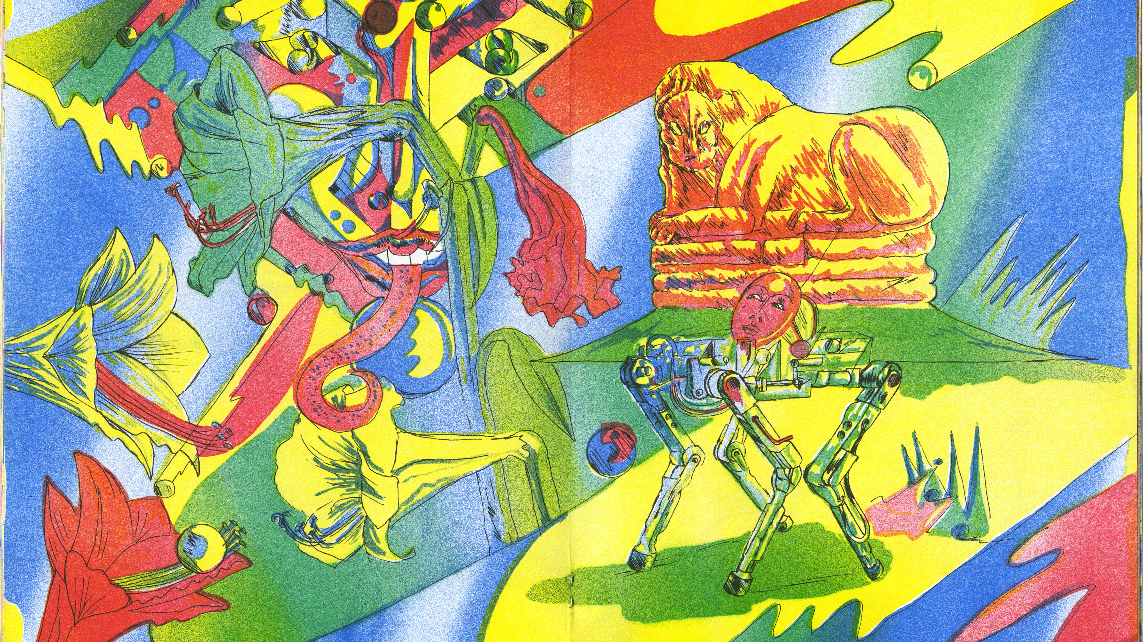 A surreal , very colorful riso print