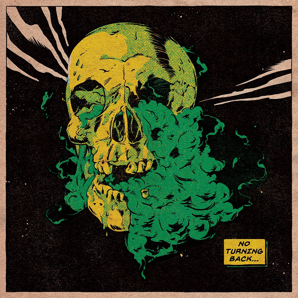 Poster of large yellow skull exuding green smoke with pink shards and framed in pink.