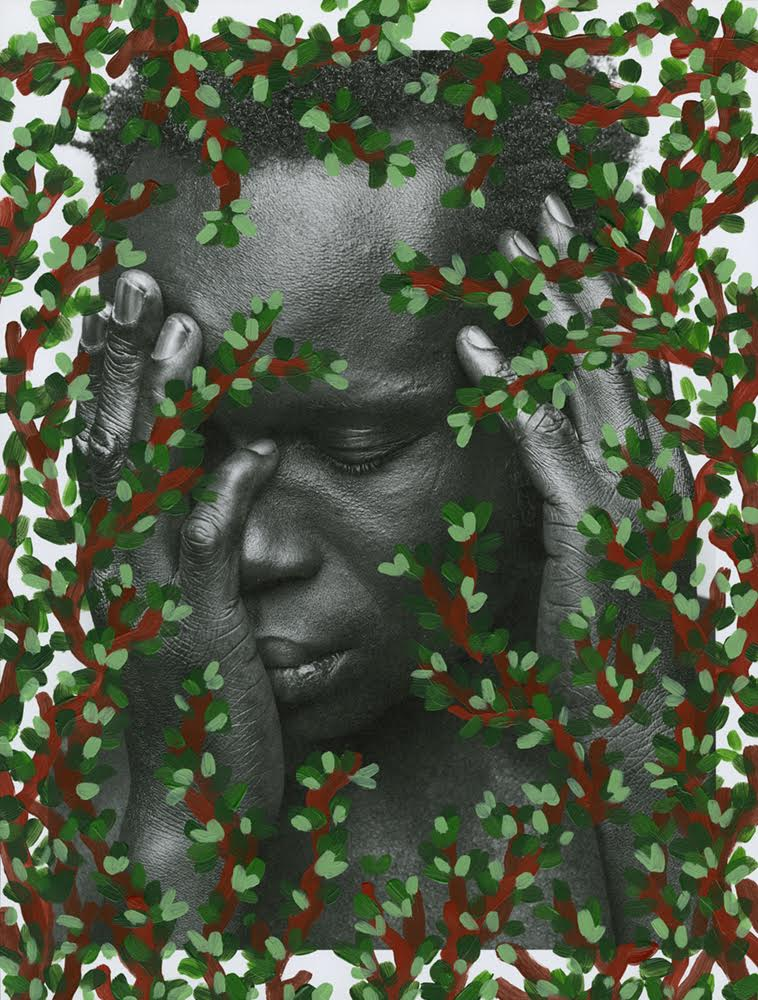 Artwork of African american woman with head resting in hand with overlay of painted branches and leaves.