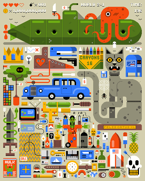 An illustration of gaming icons.