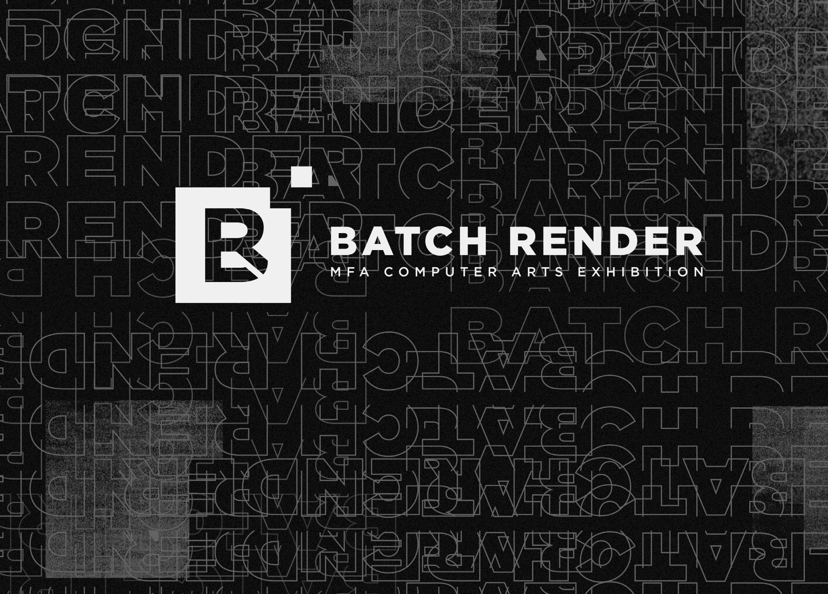 Poster of Batch Render in black and white with the text Batch Render repeating itself