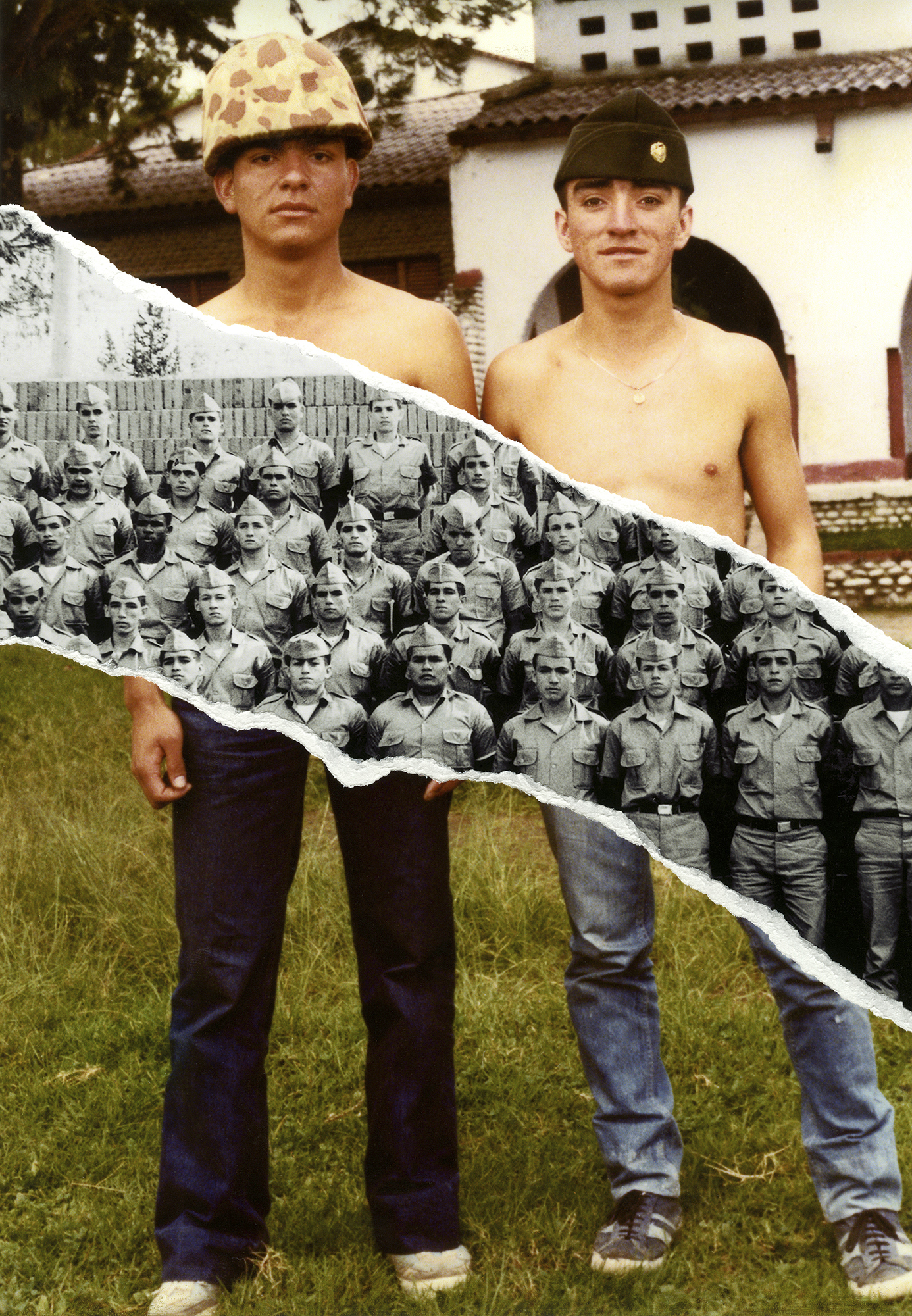 """<p """"="""""""">A collage incorporating fragments of two photographs of military men, one in color and the other in black and white."""