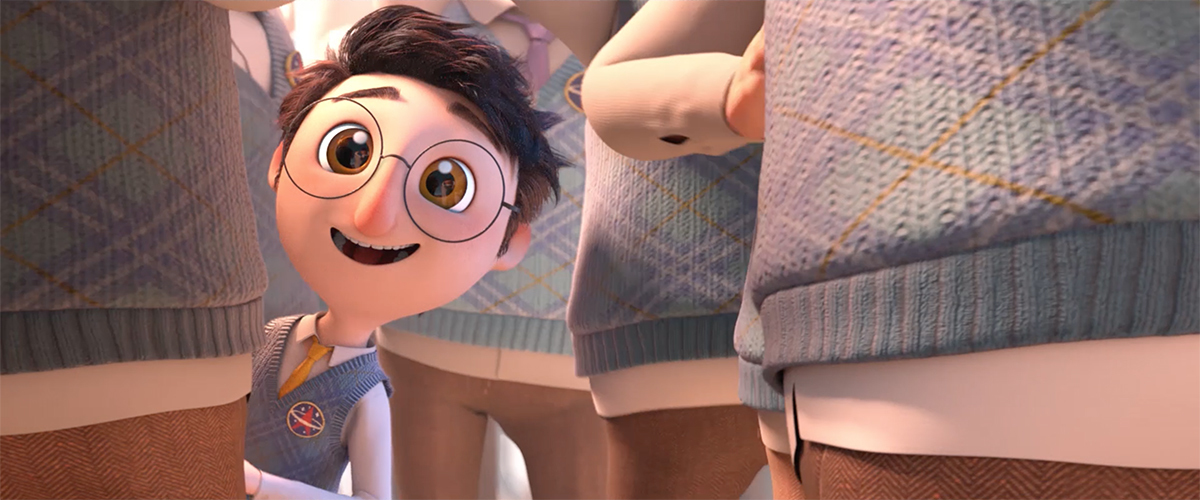 A 3D animated image of a short intellectual scientist with glasses looking happy in a group of tall people.