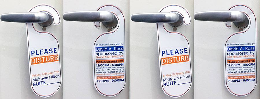 a door sign that reads please disturb and three more pictures with david a ross advertisement