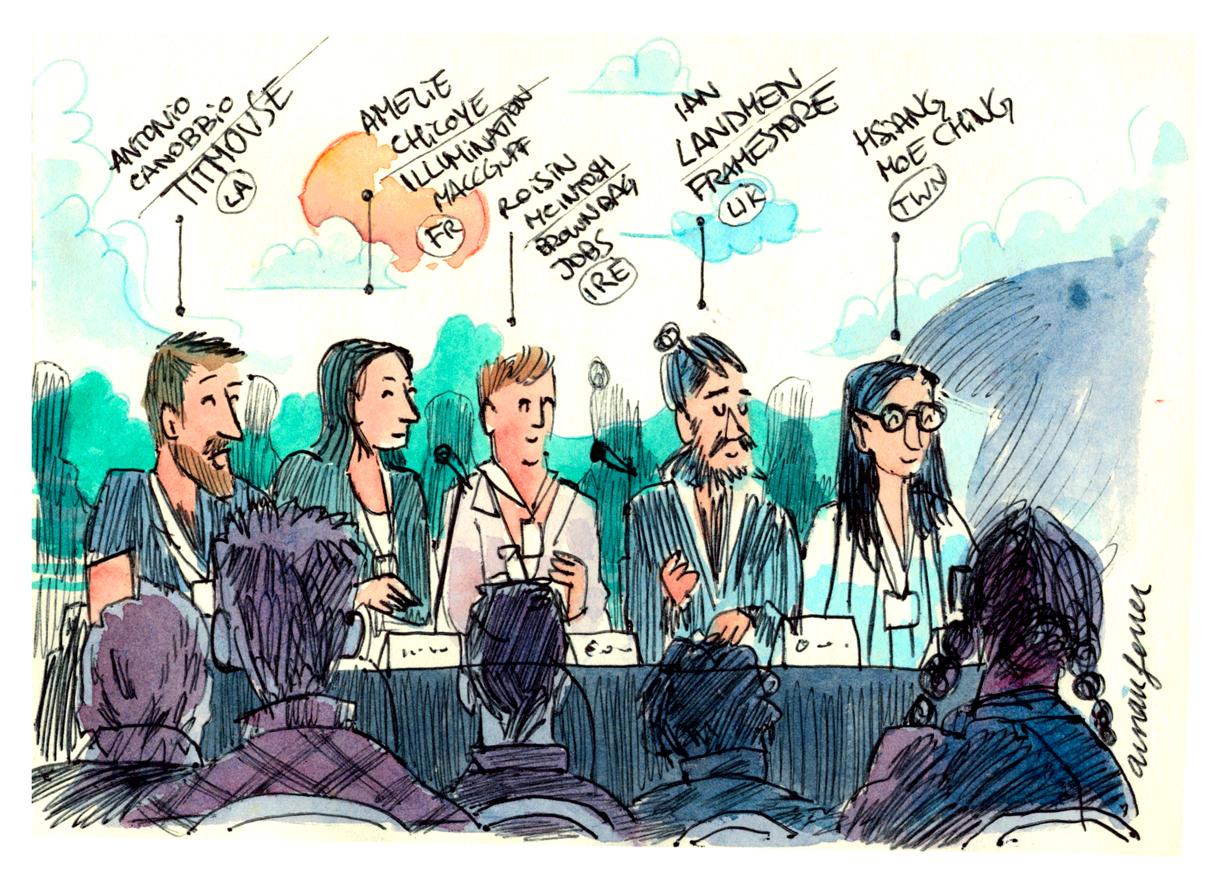 A color illustration of a panel discussion.