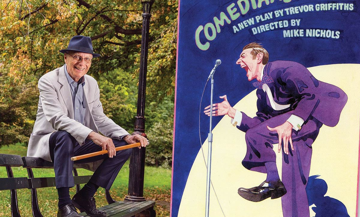 A photo of James McMullan by Vanity Fair opposite his first theater poster, for <em>Comedians</em>, in 1976.