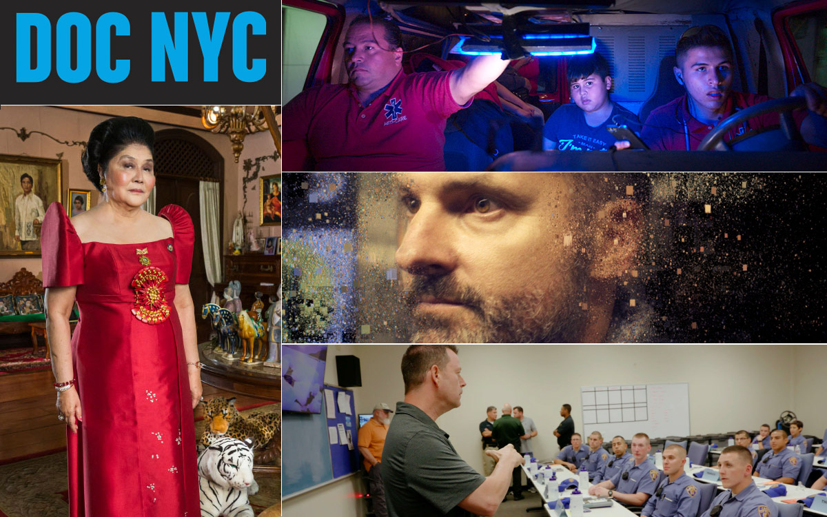"""<p """"="""""""">A collage of four stills from films showing at the 2019 DOC NYC festival."""