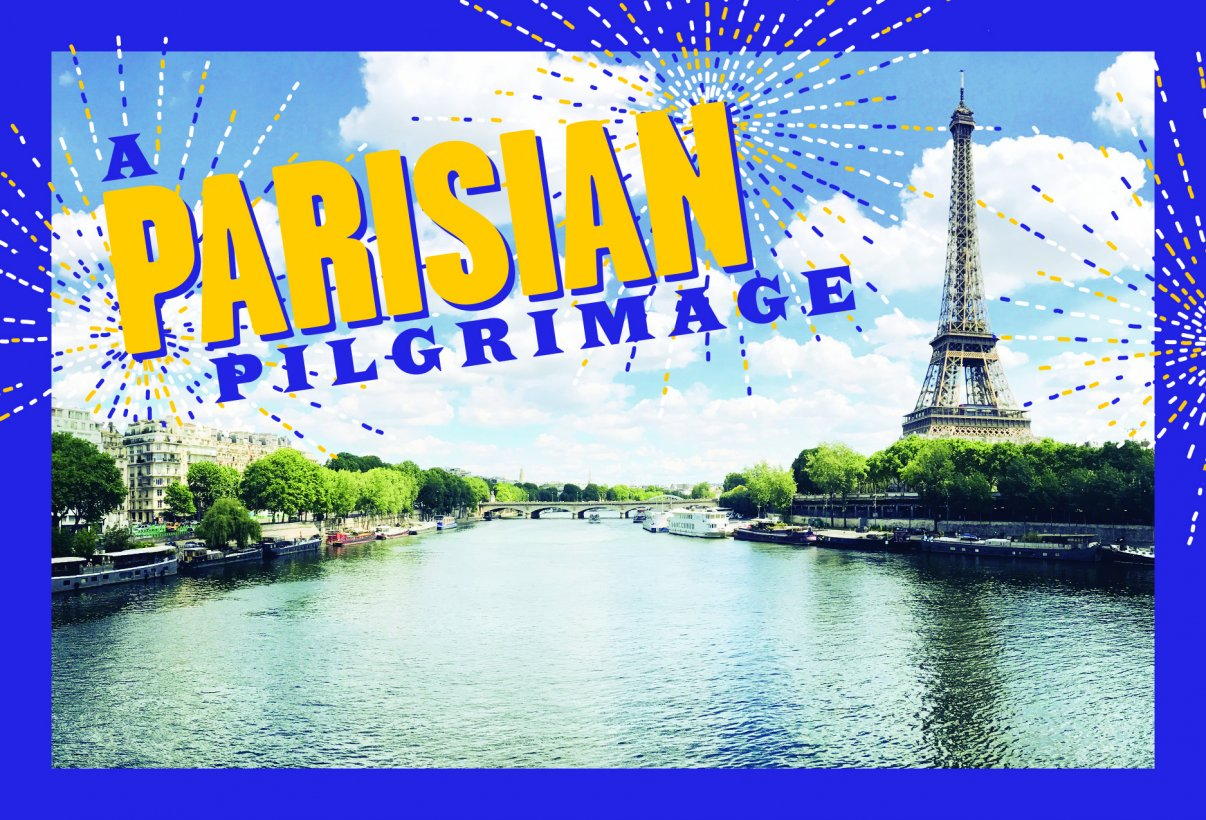 A postcard image of the Seine with the Eiffel Tower in the back on the right.