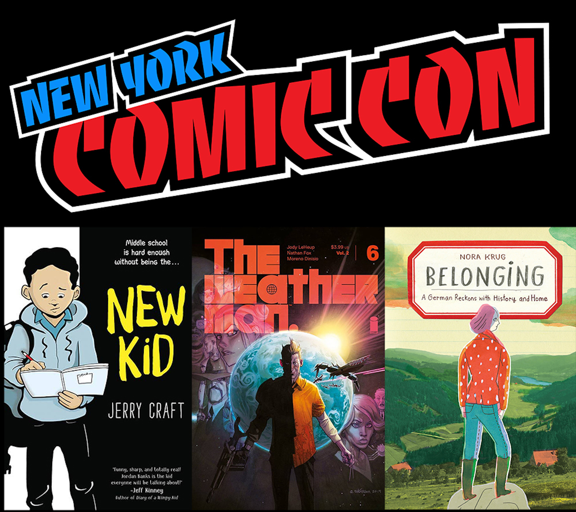 A collage featuring the logo of New York Comic Con and three illustrated book covers.
