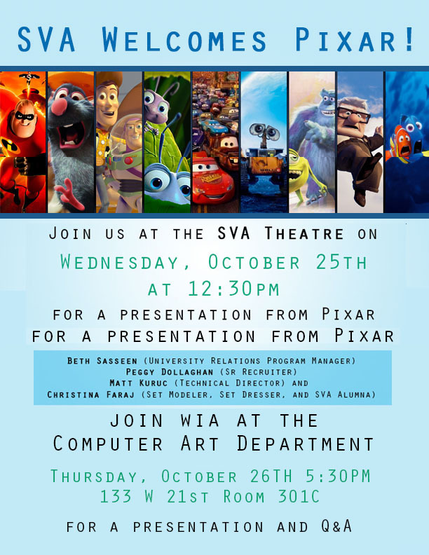 An invitational poster to a special Pixar event at the SVA theatre.