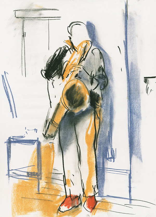 """<p """"="""""""">A loose, color illustration of a person playing a saxophone."""