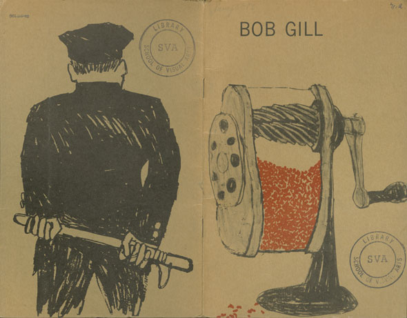 A pamphlet cover with a drawing of a pencil sharpener and a man from behind, holding a weapon behind his back.