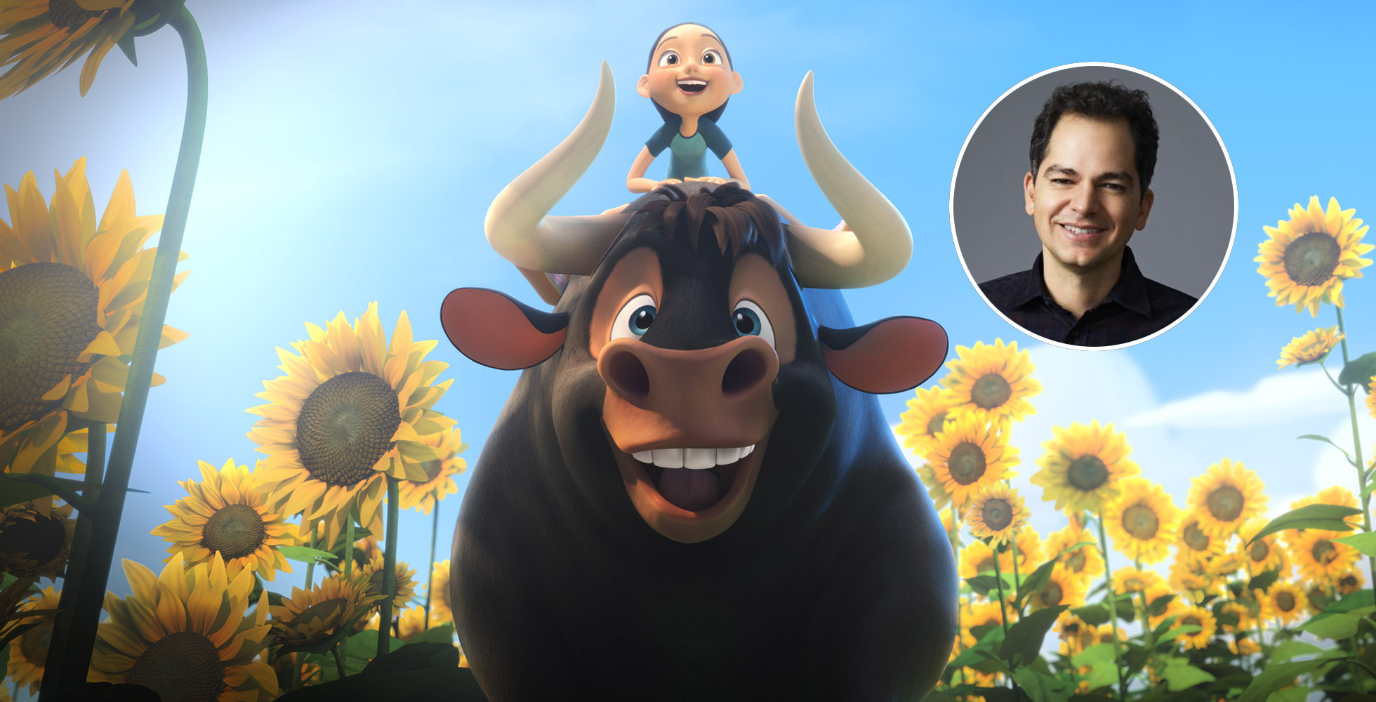 A screencap of the film Fernidad, showing the bull and the boy on top of it.