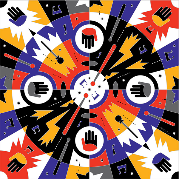 "<p ""="""">A pattern-like multicolored graphic featuring eighth notes, hands and drum sticks, among other things."