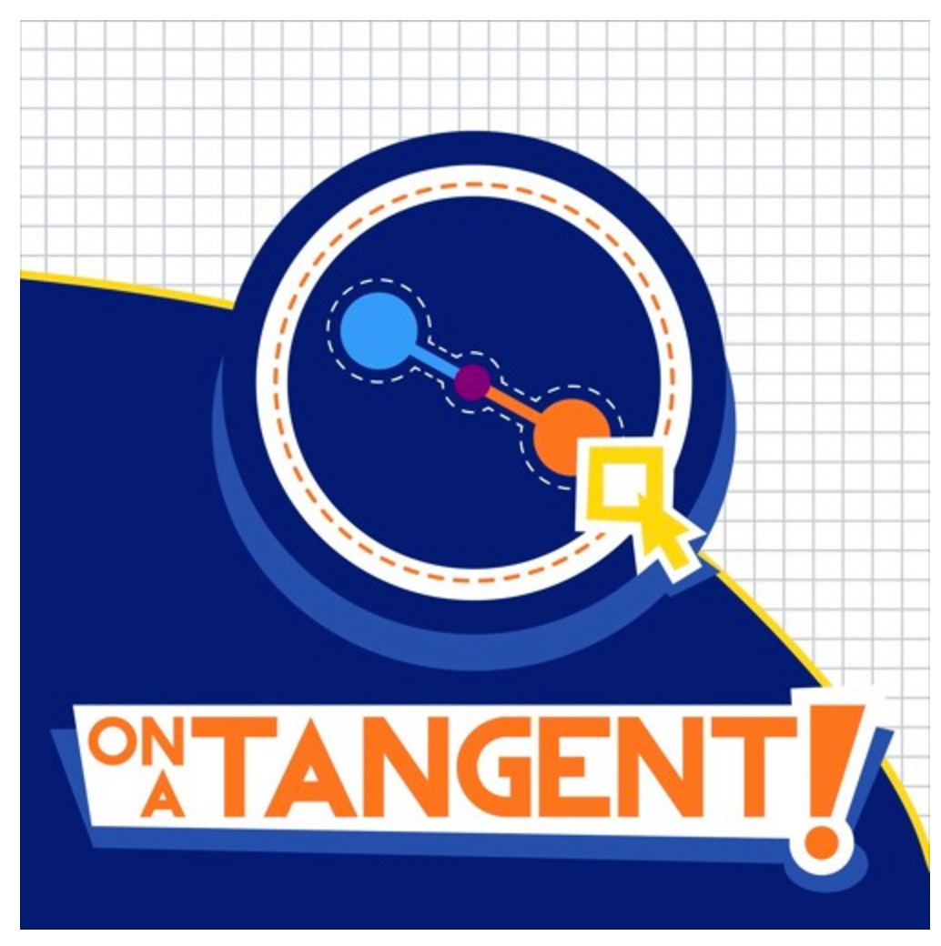 Tangent drawing with bold colors on checkered paper