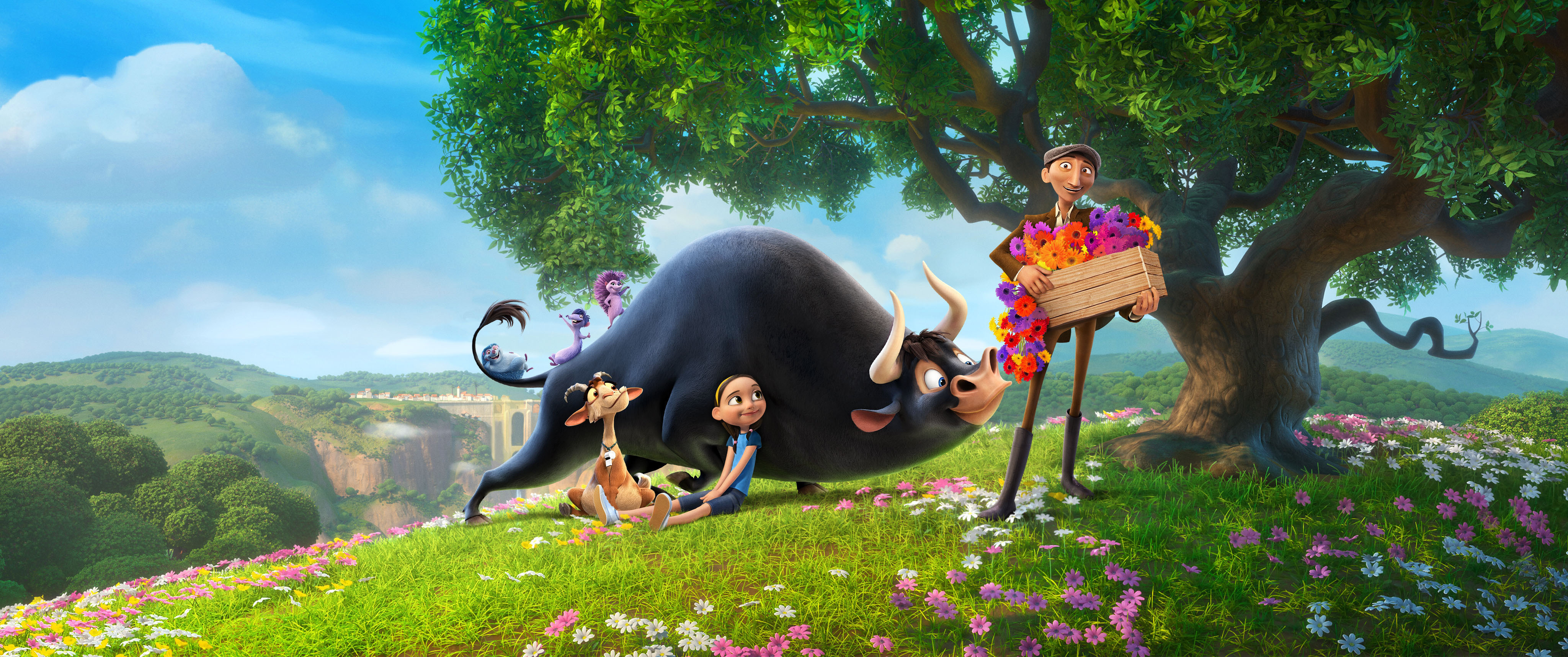 an animation of a bull and friends smelling flowers!