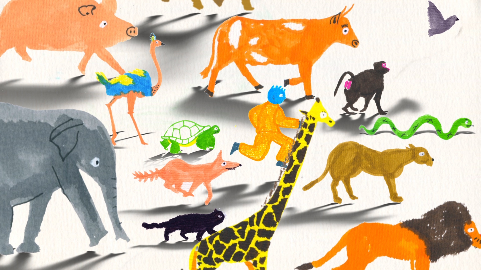 Animation still of man running among animals like a turtle, fox, elephant, ostrich, cat, snake, and baboon