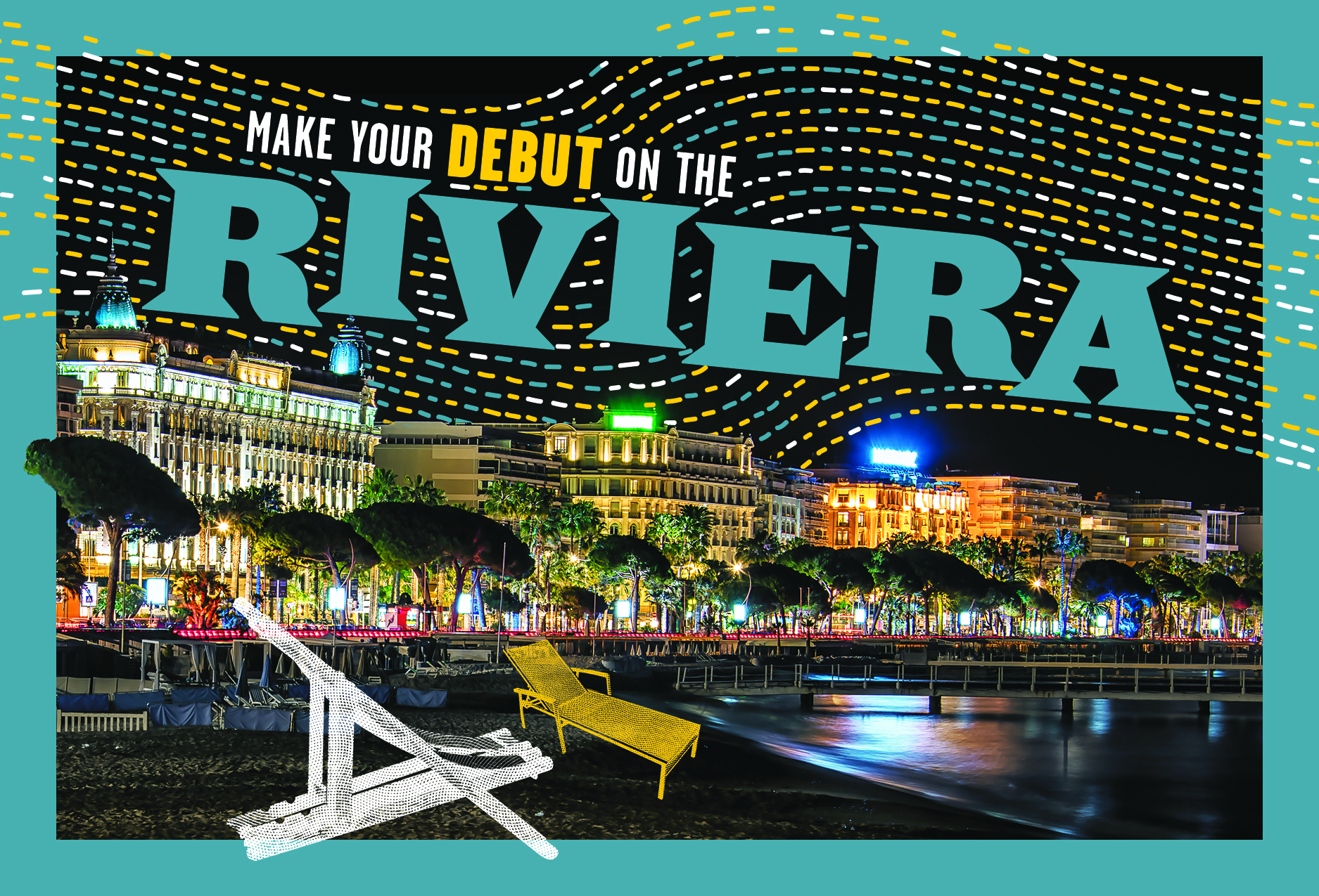 A postcard image of the French Riviera at night