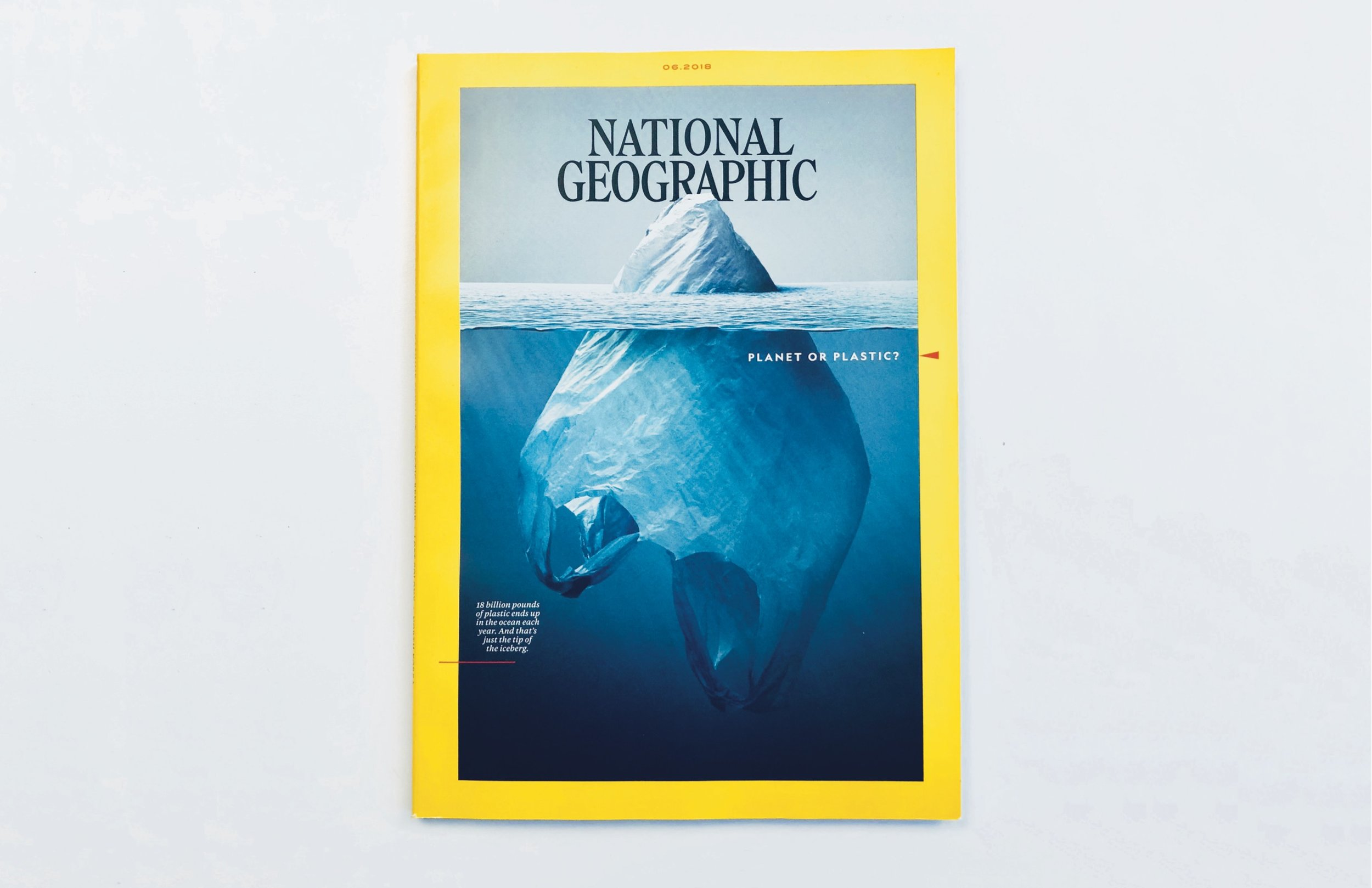 An image of National Geographic's June 2018 magazine. The cover was created by Rush to bring attention to the harmful effect using plastic can have on the planet. Photo courtesy of Rush's personal website.