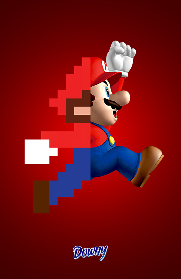 Digital artwork for Downy with Mario from Super Mario Brothers game jumping through air with red background.