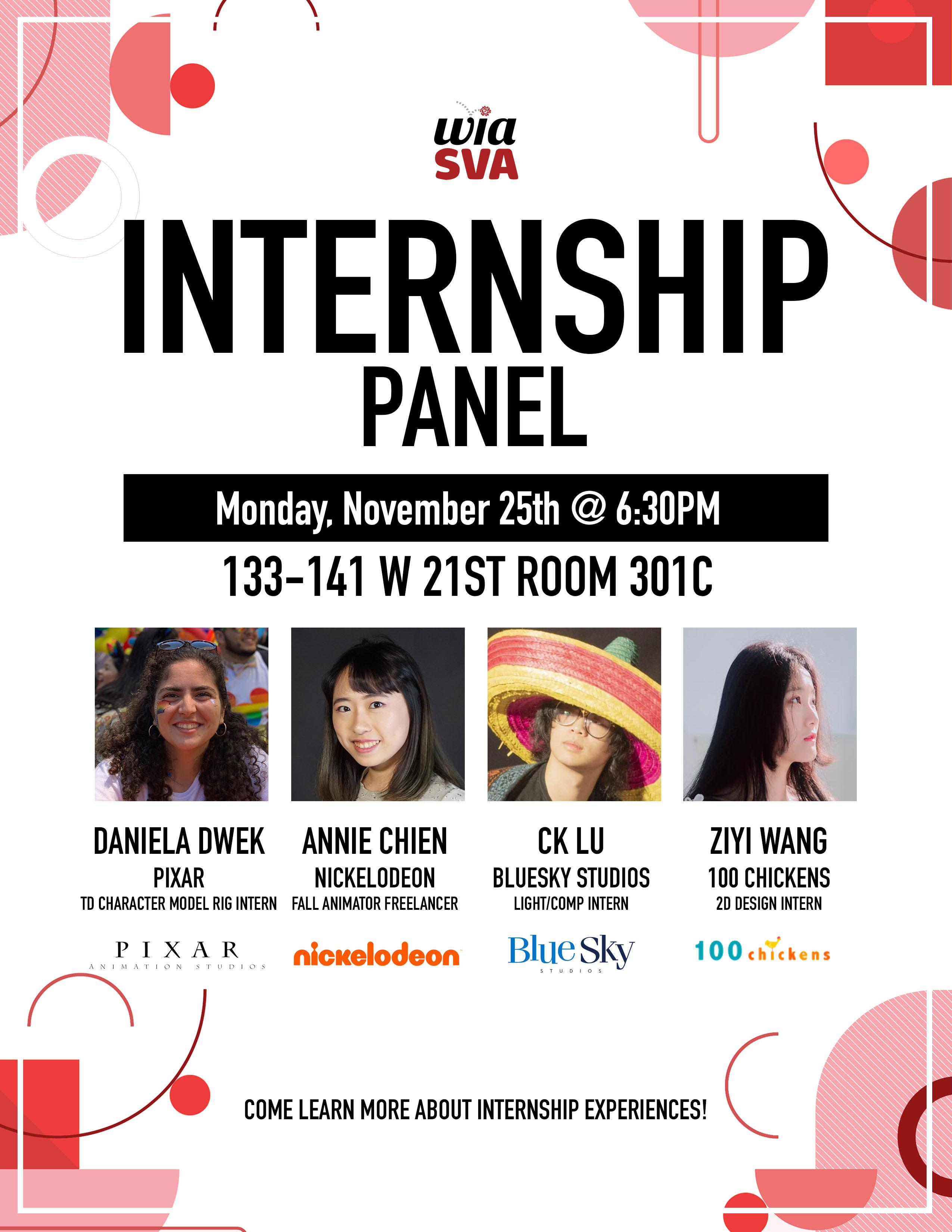 WIA SVA Internship Panel flyer